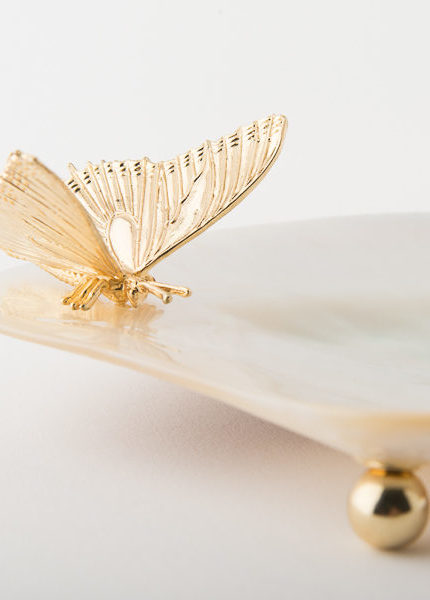 Mother of Pearl Plate with Gold Buttery from Objet Luxe